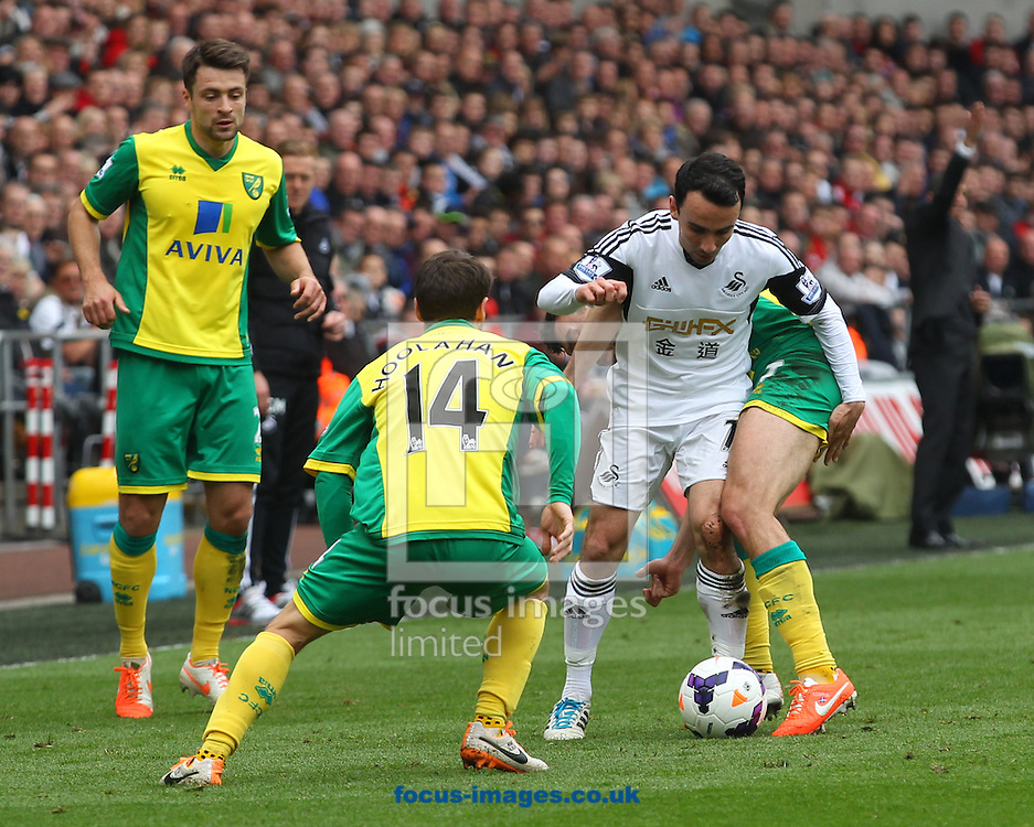 Wes Hoolahan of Norwich, Russell Martin of Norwich and Robert Snodgrass of Norwich and Leon Britton of Swansea in action during the Barclays Premier League match at the Liberty Stadium, Swansea<br /> Picture by Paul Chesterton/Focus Images Ltd +44 7904 640267<br /> 29/03/2014