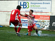 Accrington Stanley midfielder Josh Windass  and Accrington Stanley midfielder Sean McConville celebrate during the The FA Cup match between Accrington Stanley and York City at the Fraser Eagle Stadium, Accrington, England on 7 November 2015. Photo by Pete Burns.