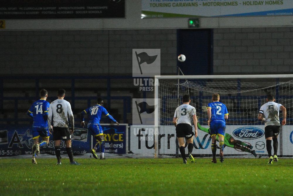 TELFORD COPYRIGHT MIKE SHERIDAN Amari Morgan-Smith of Alfreton misses a penalty with the score at 3-0 during the Vanarama Conference North fixture between AFC Telford United and Alfreton Town at the New Bucks Head Stadium on Thursday, December 26, 2019.<br /> <br /> Picture credit: Mike Sheridan/Ultrapress<br /> <br /> MS201920-036