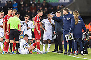 Middlesbrough manager Jonathan Woodgate looks annoyed after Paddy McNair (17) of Middlesbrough is shown a red card, sent off for a reckless foul on Matt Grimes (8) of Swansea City during the EFL Sky Bet Championship match between Swansea City and Middlesbrough at the Liberty Stadium, Swansea, Wales on 14 December 2019.