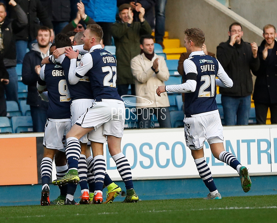 Millwall FC Forward Lee Gregory and his team mates celebrates his goal during the Sky Bet League 1 match between Millwall and Colchester United at The Den, London, England on 21 November 2015. Photo by Andy Walter.