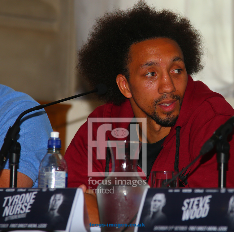 Tyrone Nurse during the press conference prior to the Warrington v Ceylan IBF Featherweight World title eliminator contest at Aspire, Leeds, UK.<br /> Picture by Stephen Gaunt/Focus Images Ltd +447904 833202<br /> 04/09/2017