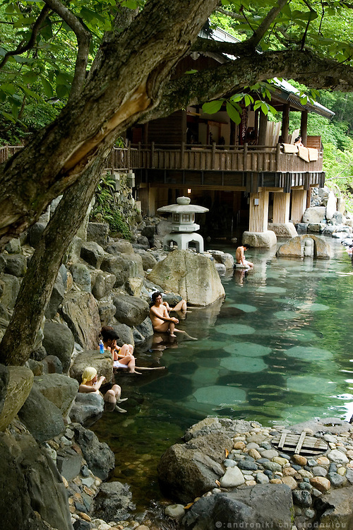 "Bathers in the mixed ""Kodakara no yu"" (children of pleasure hot spring) of the Takaragawa onsen (hot spring) in Gunma prefecture north of Tokyo. - JAPAN 8 July 2006"