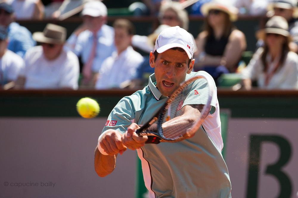 Paris, France. Roland Garros. June 7th 2013.<br /> Serbian player Novak DJOKOVIC against Rafael NADAL
