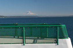 United States, Washington, Bremerton, view of Mt. Rainier from ferry
