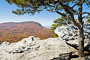Hanging Rock State Park, Stokes County, North Carolina, USA.  The eroded quartzite knob called Hanging Rock rises to 2150 feet elevation. The park is 30 miles (48 km) north of Winston-Salem, and approximately 2 miles (3.2 km) from Danbury. Hanging Rock State Park is located in the Sauratown Mountain Range, which is made up of monadnocks (or inselbergs, isolated hills) that are separated from the nearby Blue Ridge Mountains. Prominent peaks in the Sauratown range rise from 1,700 feet (520 m) to more than 2,500 feet (760 m) in elevation and stand in contrast to the surrounding countryside, which averages only 800 feet (240 m) in elevation. Named for the Saura Native Americans who were early inhabitants of the region, the Sauratown Mountains are the erosion-resistant quartzite remnants of mountains pushed up between 250 and 500 million years ago.