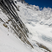 David Morton ascends the West Ridge Headwall on Mount Everest, Nepal.