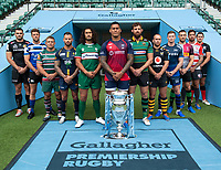 Football - 2019 / 2020 Gallagher Premiership Rugby - New Season Launch Media Photocall<br /> <br /> (From l to r), Exeter Chiefs' Don Armand, Bath Rugby's Rhys Priestland, Leicester Tigers' Tom Youngs, Worcester Warriors' Francois Hougaard, London Irish' Blair Cowan, Bristol Rugby's Nathan Hughes, Northampton Saints' Tom Wood, Wasps' Dan Robson, Sale Sharks' Chris Ashton, Harlequins' Mike Brown, Gloucester Rugby's Danny Cipriani, Saracens' Alex Goode, at Twickenham.<br /> <br /> COLORSPORT/ASHLEY WESTERN