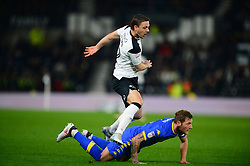 LIAM COOPER LEEDS DENIES CHRIS BAIRD DERBY COUNTY, Derby County v Leeds United, Championship League Pride Park Tuesday 21st February 2018, Score 2-2, :Photo Mike Capps