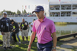 October 22, 2017 - Seogwipo, Jeju Island, South Korea - October 22, 2017-Seogwipo, Jeju Island, South Korea-Justin Thomas of USA walking cross bridge for attend winner trophy event on the 18th hole  island during an PGA TOUR CJ CUP NINE BRIDGE FINAL at Nine Bridge CC in Jeju Island, South Korea. (Credit Image: © Ryu Seung Il via ZUMA Wire)