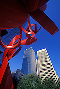 Image of a sculpture with downtown buildings in Dallas, Texas, American South