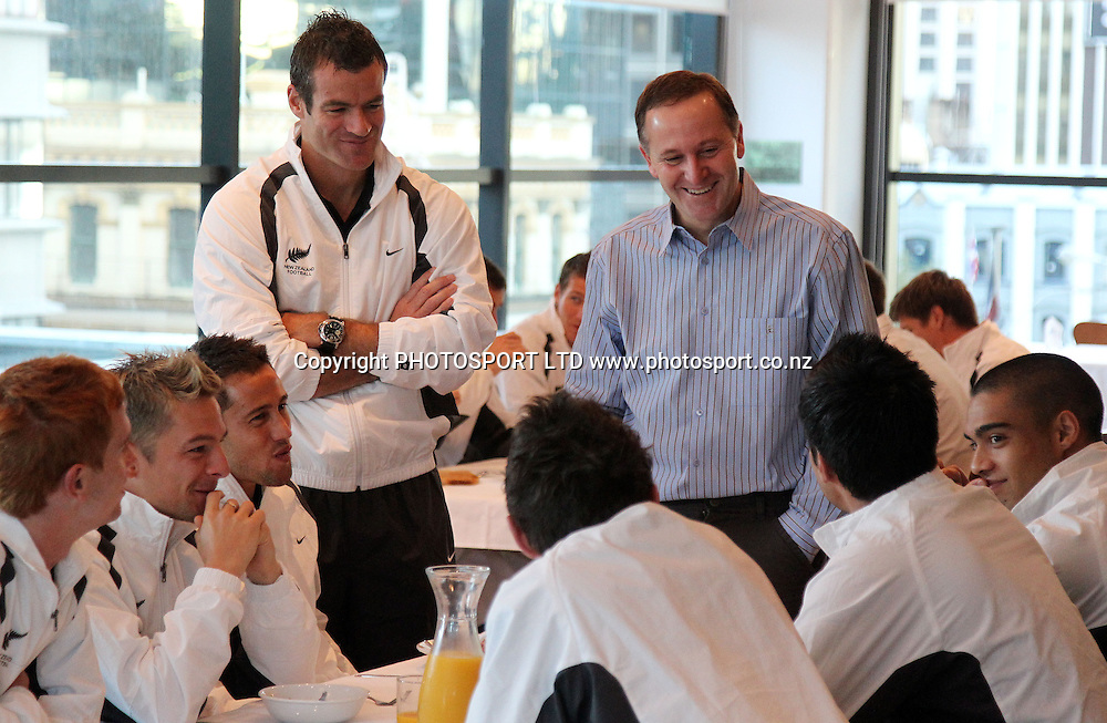 Prime Minister of New Zealand and Patron of the All Whites John Key meets the New Zealand Football team (All Whites) with captain Ryan Nelsen for breakfast before their departure for the FIFA 2010 Football Cup in South Africa.<br />Sky City Hotel, Auckland, 22 May 2010. Photo: Andrew Cornaga/PHOTOSPORT T