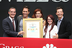 Eric McCormack, Debra Messing, Megan Mullally and Sean Hayes at the Will & Grace Start Of Production Kick-Off Event at Universal City Plaza, California on August 2, 2017. 02 Aug 2017 Pictured: Eric McCormack, Debra Messing, Megan Mullally and Sean Hayes. Photo credit: Faye Sadou/MediaPunch / MEGA TheMegaAgency.com +1 888 505 6342