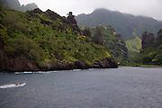 Fishing boat, Hanavave, Island of Fatu Hiva, Marquesas Islands, French Polynesia<br />