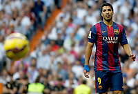 """Spanish  League""- match Real Madrid Vs FC Barcelona- season 2014-15 - Santiago Bernabeu Stadium -  Luis Suarez  (FC Barcelona) in action during the Spanish League match(Photo: Guillermo Martinez / Bohza Press / Alter Photos)"