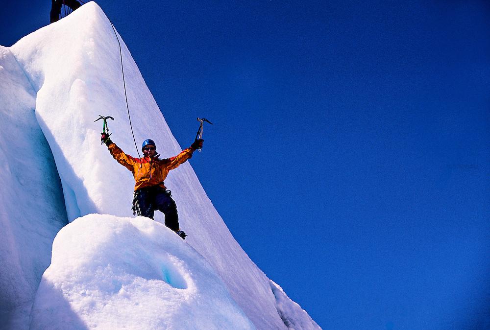 Ice climber, Worthington Glacier, near Valdez, Alaska USA