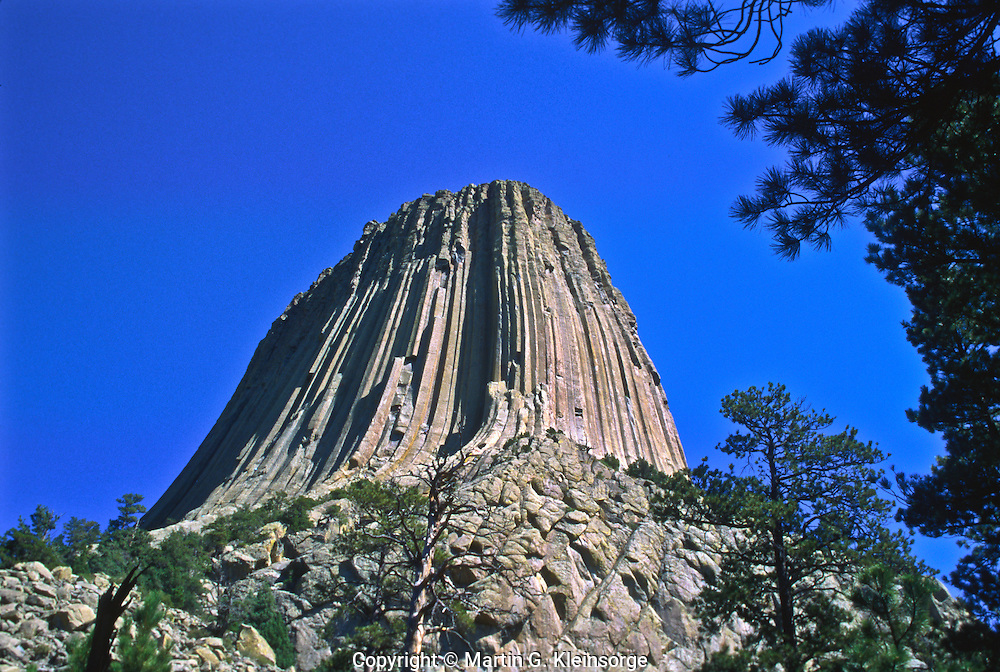 The southwest side of Devils Tower.  Devils Tower National Monument, Wyoming.