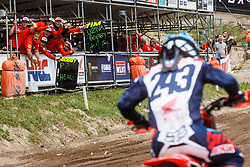 Tim Gajser #243  of Slovenia and his HRC Team during MXGP Trentino race two, round 5 for MXGP Championship in Pietramurata, Italy on 16th of April, 2017 in Italy. Photo by Grega Valancic / Sportida
