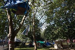 London, UK. 4th September, 2020. The Euston Protection Camp established in and around trees at Euston Square Gardens by activists from HS2 Rebellion. It has been announced by HS2 Ltd that construction of the controversial £106bn HS2 high-speed rail link is about to commence.