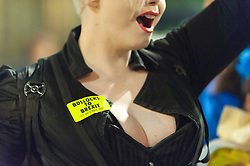 30/09/2017. Manchester, UK. World Award Winning Bodypainter, Makup Artist & SFX Artist Victoria Gugenheim joins anti-Brexit protesters with a badge - Bollocks To Brexit. Gugenheim is responsible for the anti-Brexit protest. Anti-Brexit, protesters gather outside the conference centre Manchester UK. and make their voice heard by performing satirical cabaret on the eve of the Tory Party Conference. Photo credit: Graham M. Lawrence/LNP