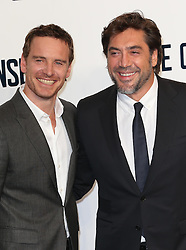 Michael Fassbender and Javier Bardem arriving for a special screening of The Counselor, in  London,  Thursday, 3rd October 2013. Picture by Stephen Lock / i-Images