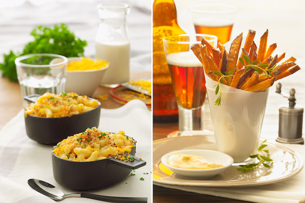 Mac and cheese and sweet potato fries with beer