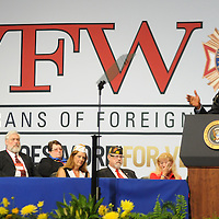 President Barack Obama addresses  the Veterans of Foreign Wars at the VFW Convention at the  David L. Lawrence Convention Center in Pittsburgh on July 21, 2015.  Photo by Archie Carpenter/UPI