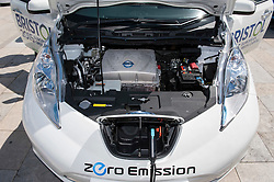© Licensed to London News Pictures. 06/06/2015. Bristol, UK.  A Nissan Leaf, at a display of electric, hybrid, and low emission vehicles at Bristol's Millennium Square sponsored by EDF energy. The cars are engineered to produce no or low emissions and pollution to reduce the impact of transport on the environment.  Photo credit : Simon Chapman/LNP
