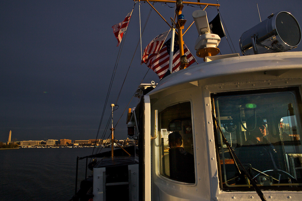 Senior Chief Brian Kuhar and a crew with the U.S. Coast Guard patrols the Potomac River as a part of security measures taken for the Presidential Inauguration ceremonies in Washington, D.C., on January 21, 2013.