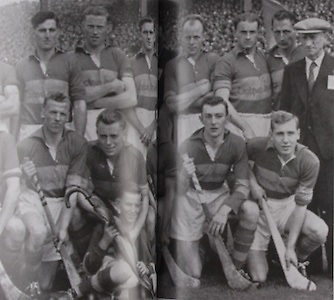 Tipperary-All-Ireland Hurling Champions 1949. Back Row: Phil Purcell, Flor Coffey, Sean Kennedy, Tony Reddan, Phil Shanahan, Jn Doyle, Tim Dwyer, Sonny Maher, Seamus Bannon, Tony Brennan, J J Callanan, Gerry Doyle. Middle Row: P Leahy, Tommy Ryan, Mick Ryan, Mick Byrnes, Pat Stakelum (captain with P Caplis, mascot), T Doyle, Jimmy Kennedy, Jack Ryan.