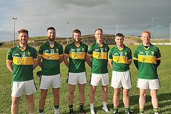 Members of the Kingdom Kerry Gaels from Mayo, <br /> Iarla and Cathal Carty (Aghamore),  Michéal Jennings (Breaffy), Caoimhin Carty (Aghamore), Martin Hughes (Kilmaine) and Ronan O'Boyle (Castlebar Mitchels) on the pitch after the Padraig O'Dea Memorial game in Kilmaine on saturday last.<br /> Pic Conor McKeown