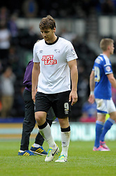 Derby County's Chris Martin cuts a dejected figure at the end of the game as Derby lose their 1 - 0 lead as the game finished 1 - 1 - Photo mandatory by-line: Dougie Allward/JMP - Mobile: 07966 386802 30/08/2014 - SPORT - FOOTBALL - Derby - iPro Stadium - Derby County v Ipswich Town - Sky Bet Championship