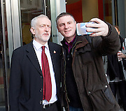Andrew Marr Show <br /> arrivals <br /> 13th November 2016 <br /> BBC, Broadcasting House, London, Great Britain <br /> <br /> <br /> a member of the public asks Jeremy Corbyn to pose for a selfie just before he goes inside the BBC building <br /> Jeremy Corbyn MP<br /> Leader of the Labour Party <br /> <br /> <br /> <br /> <br /> <br /> Photograph by Elliott Franks <br /> Image licensed to Elliott Franks Photography Services