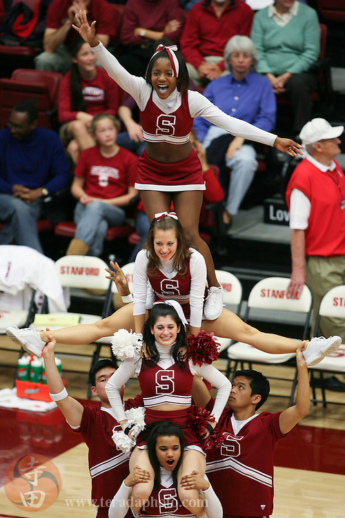 February 4, 2007; Stanford, CA, USA; Stanford Cardinal cheerleaders perform during the game against the California Golden Bears at Maples Pavilion. The Golden Bears defeated the Cardinal 72-57.