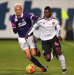 29.01.2016, Generali Arena, Wien, AUT, Testspiel, FK Austria Wien vs FC Basel, im Bild Raphael Holzhauser (FK Austria Wien) und Breel Donald Embolo (FC Basel) // during a preperation Football Match between FK Austria Wien vs FC Basel at the Generali Arena in Vienna, Austria on 2016/01/29. EXPA Pictures © 2016, PhotoCredit: EXPA/ Thomas Haumer