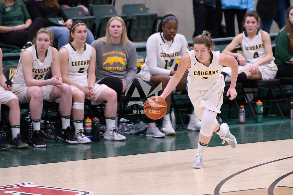 2nd year guard Michaela Kleisinger (2) of the Regina Cougars