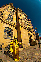 Mime, Neumarkt area, Frauenkirche in background, Dresden, Saxony, Germany