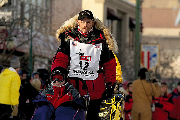 04 March 2006: Anchorage, Alaska - 2004 champion Mitch Seavy head down historic 4th Avenue during the Ceremonial Start in downtown Anchorage of the 2006 Iditarod Sled Dog Race