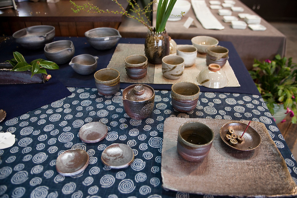 Kartsu ware for sale in Arita shop.
