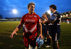 Jordan Crane of Bristol Rugby goes through a guard of honour after his side beat Doncaster Knights in the B&I Cup - Mandatory by-line: Robbie Stephenson/JMP - 13/01/2018 - RUGBY - Castle Park - Doncaster, England - Doncaster Knights v Bristol Rugby - B&I Cup