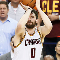 10 June 2016: Cleveland Cavaliers forward Kevin Love (0) takes a jump shot during the Golden State Warriors 108-97 victory over the Cleveland Cavaliers, during Game Four of the 2016 NBA Finals at the Quicken Loans Arena, Cleveland, Ohio, USA.