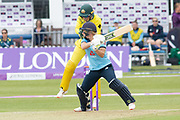 Katherine Brunt cuts for 4 during the Royal London Women's One Day International match between England Women Cricket and Australia at the Fischer County Ground, Grace Road, Leicester, United Kingdom on 2 July 2019.
