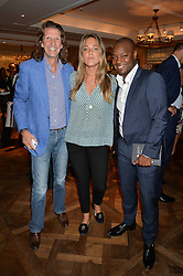 Left to right, PIERRE LAGRANGE, DAISY KNATCHBULL and EBS BURNOUGH at a the Fortnum's X Frank private view - an instore exhibition of over 60 works from Frank Cohen's collection at Fortnum & Mason, 181 Piccadilly, London on 12th September 2016.