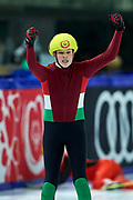 Graz, Austria - 2017 March 22: Zsombor Bohn from Hungary celebrates his victory in Speed Skating 222 meters race while Special Olympics World Winter Games Austria 2017 at Icestadium Graz Liebenau on March 22, 2017 in Graz, Austria.<br /> <br /> Mandatory credit:<br /> Photo by &copy; Adam Nurkiewicz / Mediasport<br /> <br /> Adam Nurkiewicz declares that he has no rights to the image of people at the photographs of his authorship.<br /> <br /> Picture also available in RAW (NEF) or TIFF format on special request.<br /> <br /> Any editorial, commercial or promotional use requires written permission from the author of image.<br /> <br /> Image can be used in the press when the method of use and the signature does not hurt people on the picture.