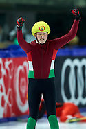 Graz, Austria - 2017 March 22: Zsombor Bohn from Hungary celebrates his victory in Speed Skating 222 meters race while Special Olympics World Winter Games Austria 2017 at Icestadium Graz Liebenau on March 22, 2017 in Graz, Austria.<br /> <br /> Mandatory credit:<br /> Photo by © Adam Nurkiewicz / Mediasport<br /> <br /> Adam Nurkiewicz declares that he has no rights to the image of people at the photographs of his authorship.<br /> <br /> Picture also available in RAW (NEF) or TIFF format on special request.<br /> <br /> Any editorial, commercial or promotional use requires written permission from the author of image.<br /> <br /> Image can be used in the press when the method of use and the signature does not hurt people on the picture.