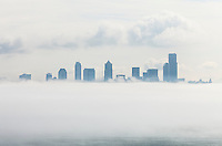 Fog bank over downtown Seattle, Washington USA