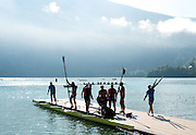 Aiguebelette, FRANCE. General View. USA M8+, prepare for a training session at the 2014 FISA World Cup II, 09:23:52  Thursday  19/06/2014. [Mandatory Credit; Peter Spurrier/Intersport-images] © Peter SPURRIER, Atmospheric, Rowing