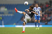 Brentford midfielder Sam Saunders (7) clears the danger during the EFL Sky Bet Championship match between Brighton and Hove Albion and Brentford at the American Express Community Stadium, Brighton and Hove, England on 10 September 2016.
