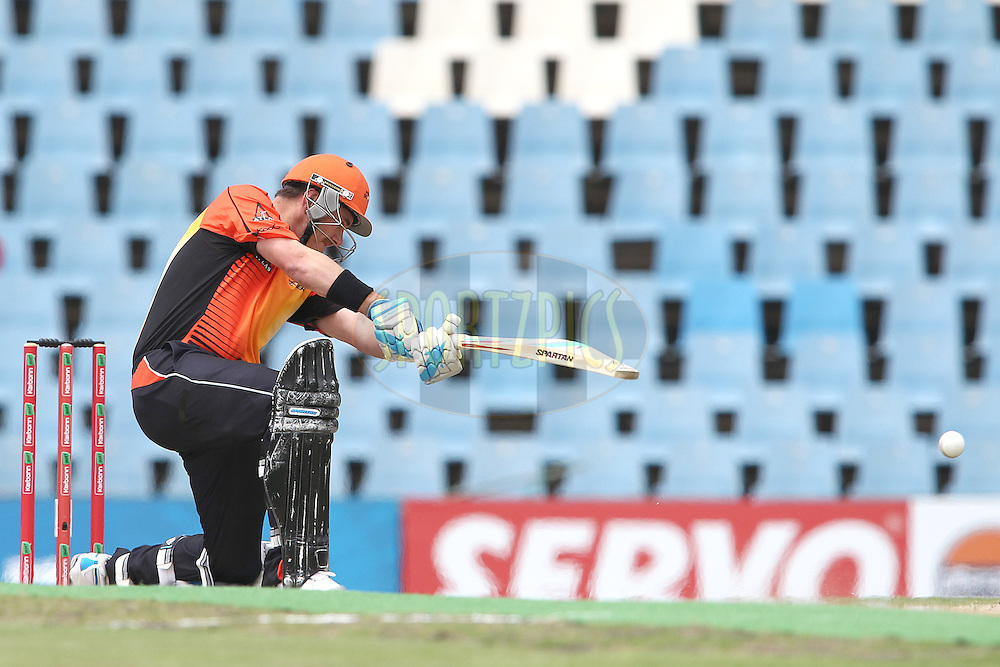 Perth Scorchers captain Marcus North attacks a delivery during match 19 of the Karbonn Smart CLT20 South Africa between The Perth Scorchers and The Auckland Aces held at Supersport Park Stadium in Centurion, South Africa on the 23rd October 2012..Photo by Shaun Roy/SPORTZPICS/CLT20