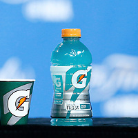 08 June 2016: Gatorade bottle and glass are seen in the interview room during the Cleveland Cavaliers 120-90 victory over the Golden State Warriors, during Game Three of the 2016 NBA Finals at the Quicken Loans Arena, Cleveland, Ohio, USA.